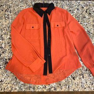 Mine orange button down shirt